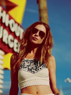 free people crop top and sunglasses