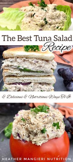 This simple tuna salad recipe combines only a few basic ingredients for a flavor-filled, protein-packed meal or snack that can be eaten at home or on-the-go Atkins Recipes, Low Carb Recipes, Diet Recipes, Vegetarian Recipes, Cooking Recipes, Healthy Recipes, Eat Healthy, Best Tuna Salad Recipe, Easy Tuna Salad