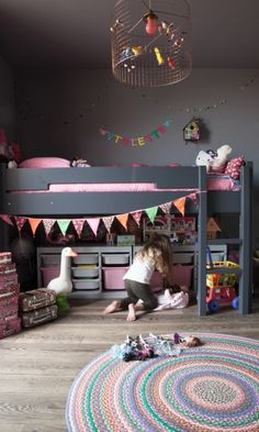 The LuxPad - Children's Bedroom Decor Ideas, Rosie Kinsella, trending kids room, grey decor, coloured bunt Cama Ikea Kura, Childrens Bedroom Decor, Childrens Bedrooms Girls, Deco Kids, Kids Decor, Decor Ideas, Bed Ideas, Decorating Ideas, Interior Decorating