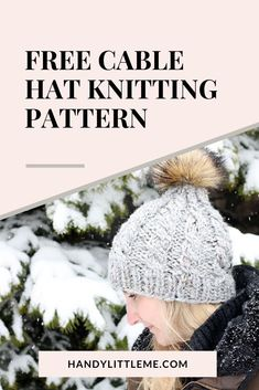 Cable Knit Hat Pattern Free. make a cable knit hat with super bulky yarn. This hat can be made quickly, great for last minute gifts. #cableknit #knithat #hatpattern #knittingpattern #freepattern Winter Knitting Patterns, Free Knitting Patterns For Women, Knitted Mittens Pattern, Beginner Knitting Patterns, Hat Patterns, Knitting Projects, Knitted Hats, Easy Knit Hat, Cable Knit Hat