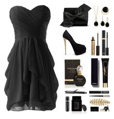 """""""Black & Gold Blind Date"""" by reb99170 ❤ liked on Polyvore featuring Lancôme, Victoria Beckham, Giuseppe Zanotti, Effy Jewelry, NYX, Tom Ford, River Island, Chanel, Christian Louboutin and GHD"""