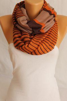 Beige Orange Lightweight Oversized So Soft Striped Cotton Scarf -ESCHERPE