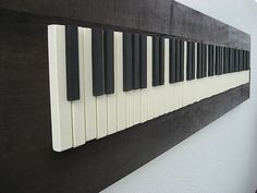 Rustic Wood Sculpture  Piano Keys  12x48  Made-To-Order