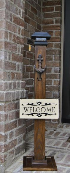 This super cute, Solar light decorative post is perfect to dress up your home or business! Complete customization, including size, color, hanging option, sign, and finish. Post and welcome sign can greet your guest even before you open the door. Perfect addition to your home or garden. You could also hang a wreath or a lantern for the perfect accent to your porch. These signs are new and reclaimed wood, hand made and sealed to stand up to the elements. Post is stained in a walnut stain and…