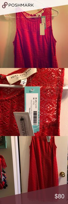 Stitch Fix - Skies Are Blue - Maternity Dress Brand new, never been worn, maternity dress Maternity lace a-line dress Dress is *slightly* different than pictured professional picture- has lines in skirt, but not in bust. See my own photos for details. Skies Are Blue Dresses