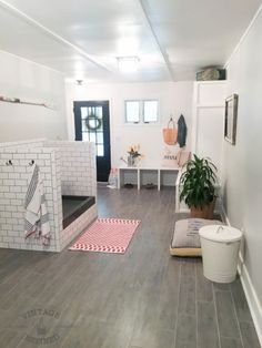 A Drab Mudroom Becomes a Bright and Beautiful Space Laundry room display above cabinet - Tap the pin for the most adorable pawtastic fur baby apparel! You'll love the dog clothes and cat clothes! Animal Room, Dog Room Decor, Home Decor, Dog Bedroom, Dog Washing Station, Puppy Room, Casa Loft, Dog Spaces, Above Cabinets