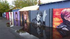 Una artista local pinta un muro como homenaje a David Bowie en Phoenix