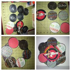 Back to school wreath made with tin can lids