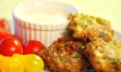 Zucchini Fritters with Goat Cheese Sauce | pinchofyum.com