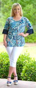 Go With The Flow Top - Navy