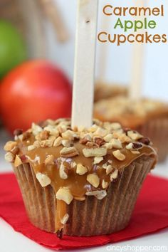 Caramel Apple Cupcakes Recipe. The perfect fall cupcake with lots of nuts (or without). Easy to make and full of great apple flavor.