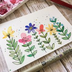 Just paint some blobs and then add in the details! (Or vi Simple floral doodles. Just paint some blobs and then add in the details! Watercolor Projects, Watercolor And Ink, Simple Watercolor Paintings, Floral Doodle, Doodle Art, Art Lessons, Painting & Drawing, Art Projects, Birthday Cards