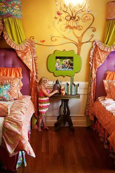 super whimsical bedroom! man i wish this was my room growing up. instead i had minnie mouse stuck all over the walls and bed spread