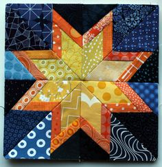 Free Paper Piecing Quilt Blocks | WQ Starry Night 8 inch block