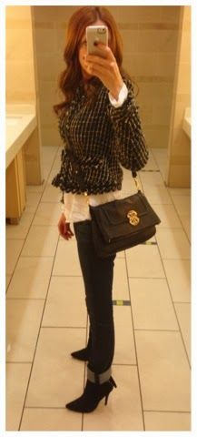 Cuffed jeans, tweed jacket from Target, black Tory Burch crossbody bag - Fall outfit