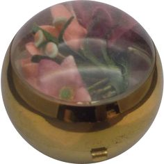 Henriette Ball Compact 1940s Silk Flowers from hoosiercollectibles on Ruby Lane