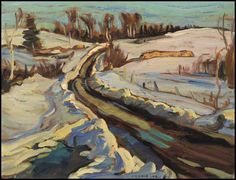 """Road Near Eganville,"" Alexander Young (A.) Jackson, oil on board, 10 x 13 private collection. Group Of Seven Artists, Group Of Seven Paintings, Canadian Painters, Canadian Artists, Landscape Art, Landscape Paintings, Landscapes, Abstract Paintings, Tom Thomson Paintings"