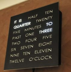 A clock that spells out the time with lighted words.