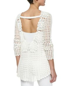 Free People Long-Sleeve Filet Crochet Sweater