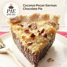 Coconut-Pecan German Chocolate Pie Recipe from Taste of Home -- shared by Anna Jones, Coppell, Texas Made this for Thanksgiving and it was really good but really rich! The bottom is more like a fudge consistency, not like a regular pudding pie. German Chocolate Pies, Chocolate Pie Recipes, Choco Pie, Chocolate Cake, Chocolate Coconut Pie Recipe, Chocolate Cream, Chocolate Chocolate, Chocolate Cheesecake, Just Desserts