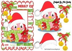 Cute little robin in santa hat with bells on Craftsuprint - View Now!