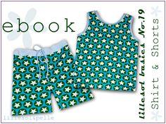Ebook / Schnittmuster lillesol basic No.19 Sommerkombi Shirt & Shorts Senior Trip, Short Shirts, Shorts, Tween, Rompers, Leggings, Sewing, Boys, Pretty