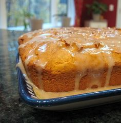 Yellow cake mix & 1 can pumpkin filling.    Pumpkin Cake  One Cake mix- I used yellow  1 -15 ounce can 100% pumpkin- puree, not pumpkin pie filling    Preheat oven to 350°. In a large bowl mix cake mix with pumpkin filling using a hand mixer or a stand mixer. Beat on medium for 2 minutes. Pour batter into a greased 7 x 11 inch baking dish. Bak