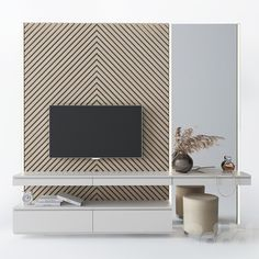 models: TV Wall - Dressing table and TV Bedroom Tv Unit Design, Tv Wall Design, Tv In Bedroom, Home Room Design, Home Interior Design, Living Room Designs, Wall Dressing Table, Minimal House Design, Ecole Design