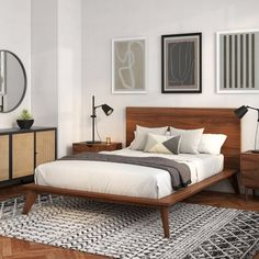 Bedroom Apartment, Home Bedroom, Cama Vintage, Modern Platform Bed, Wood Platform Bed, Mid Century Modern Bedroom, Luxurious Bedrooms, My New Room, Bedroom Sets