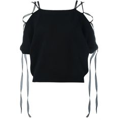 Valentino Lace-up Knitted Top (1'910 CHF) ❤ liked on Polyvore featuring tops, crop tops, shirts, short sleeve crop top, lace up shirt, open shoulder crop top, lace up crop top and short-sleeve shirt