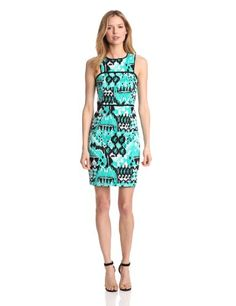 Gabby Skye Women's Ikat Print Sateen, Jade/Black/White, 8 Gabby Skye,http://www.amazon.com/dp/B009VDCWHG/ref=cm_sw_r_pi_dp_kRK0rb045EYETS3Y