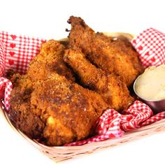 "Butter Fried Chicken - Michael Symon - The Chew.... butter and maple syrup compound butter is applied under the skin.. has flour and Ritz cracker coating.. ""tastes like chicken & waffles"""