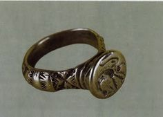 Medieval Serbian silver ring, 14th-15th century, excavated at upper castle of Medieval Serbian fortress Novo Brdo, one of the most important mining and trading centers of Medieval Serbia and Europe. Castle has 8 towers, and several archaeological excavations revealed remains of many significant buildings, such as churches and palaces, and numerous interesting findings, such as pottery, jewelry, weapons and objects for everyday use from the Medieval period.