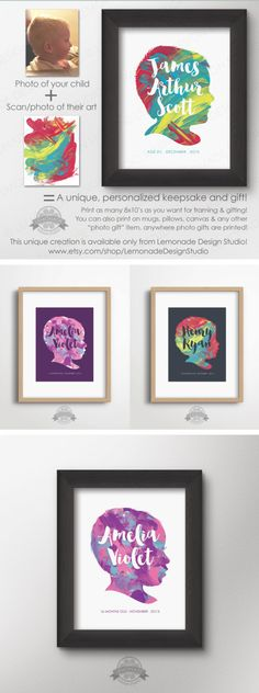 CUSTOM Silhouette with YOUR Child's ARTWORK and Silhouette - Printable 8x10 - Personalized Gift - Mother Gift - Grandparent Gift - Dad Gift - Christmas Gift from Child ONLY AVAILABLE AT LEMONADE DESIGN STUDIO!! I turn your child's finger painting (or ANY kid-created artwork) and their photo into a one-of-a-kind personalized piece of art, that you print and hang on your wall, give as gifts - as many copies as you want!