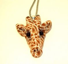 Giraffe Necklace by clayillusions on Etsy, $18.00