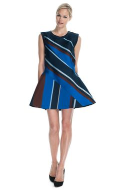 Ostwald Helgason multi diagonal stripe dress