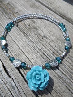 Turquoise and Silver Choker Necklace with by thousandflowerstudio, $28.00