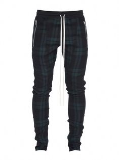 Fear Of God Skinny-fit Checked Wool-twill Drawstring Trousers In Green Plaid Jogger Pants, Jeans Pants, Joggers, Checked Trousers, Mens Fashion, Fashion Outfits, Men's Outfits, Black Tuxedo, Mens Clothing Styles