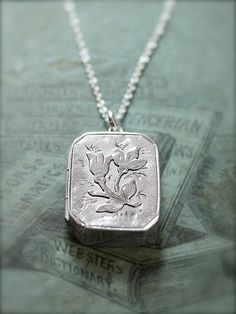 Antique Sterling Silver Locket Necklace 1898 by TforEdgar on Etsy
