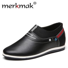New 2018 Autumn Genuine Leather Men Shoes Breathable Casual Height  Increasing 6CM Shoes Fashion Leisure Loafers 4c702d6a84c5