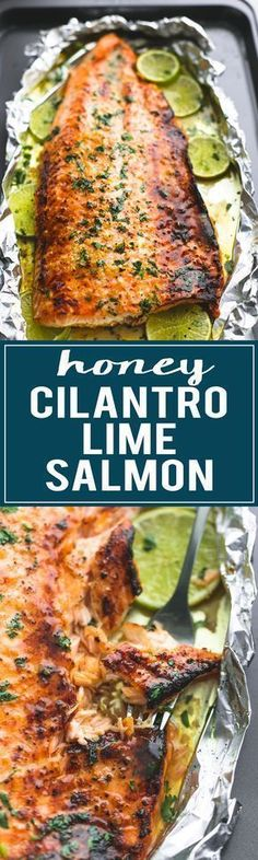 Healthy, Baked Honey Cilantro Lime Salmon is ready in 30 minutes with a 4-ingredient glaze to die for! | lecremedelacrumb.com