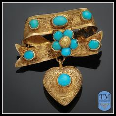 Antique Victorian 14k Gold & Persian Turquoise Brooch with Heart Dangle via Trademark Antiques @trademarkantiques