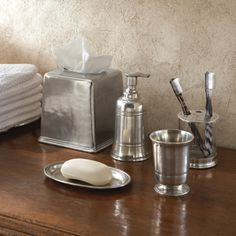 Arte Italica Roma Pewter Bath Accessories - Handcrafted pewter and mouth-blown glass accessories create an elegant bath in any home. The pieces transition from clean and contemporary to traditional with ease. Handmade in Italy. Hand-wash only.