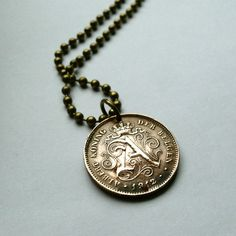 1912 Belgium 2 centimes coin pendant necklace jewelry first last name Letter A sitting LION wild animal old Belgian lions roar No.000878 by acnyCOINJEWELRY on Etsy