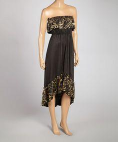 Loving this Black & Gold Ruffle Strapless Hi-Low Dress on #zulily! #zulilyfinds