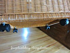 "Frugal Ain't Cheap: How to make a rolling basket and ""new"" coffee table"