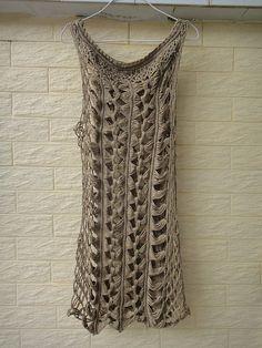 Bohemian Beige Crochet Vest Long Summer Lace por Tinacrochetstudio