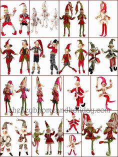 RAZ Christmas Elves!  Here is a great reference photo for all the elves available.  Each elf coordinates with one of the RAZ Imports Christmas decoration collection so you can find Christmas ornaments, garlands and florals sprays to match your favorite elf.  Click on the photo to visit our blog for links to our Christmas elf page  OR visit Shelley B Home and Holiday and shop our By Brand:RAZ Imports:Christmas page for all the collections. www.shelleybhomeandholiday.com