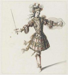 """Recueil """"Costumes des Fêtes, Mascarades - Théâtre de Louis XIV"""" - Jean I Bérain (1640-1711) - Projet de costume d'opéra: Combattant – Paris, Musée du Louvre"""