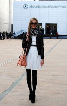 wore a version of this - white dress, black patent belt, black tights & black Michael Kors booties w/a super fun and colorful H scarf & bomber jacket from nordstrom back in the day... was supes cute.  (@seejane.)